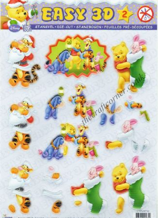 Winnie The Pooh & Friends At Christmas 2 Die Cut 3d Decoupage Sheet